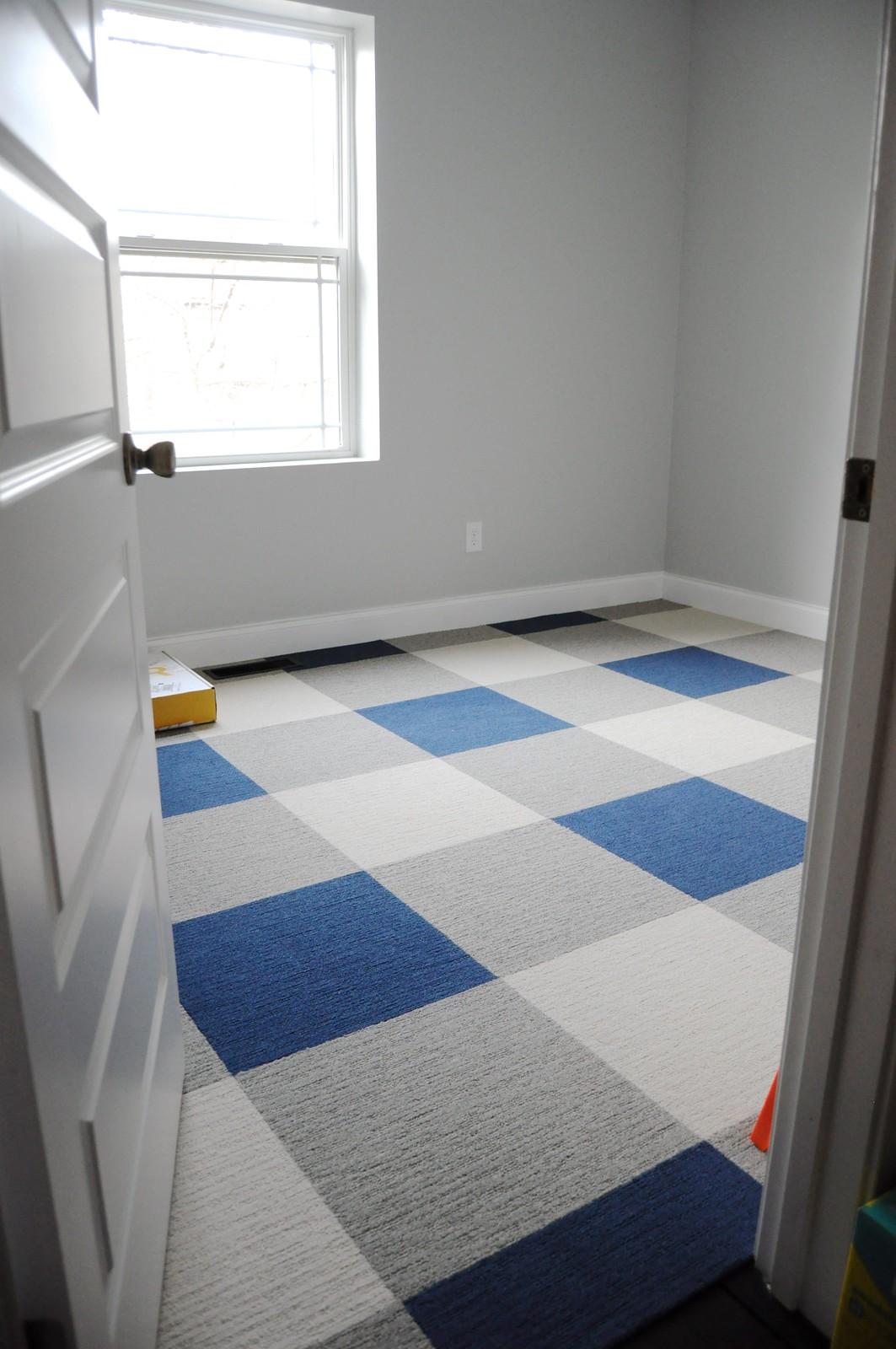 Buffalo plaid floor using carpet tiles go haus go a diy and buffalo plaid carpet tile floor dailygadgetfo Choice Image