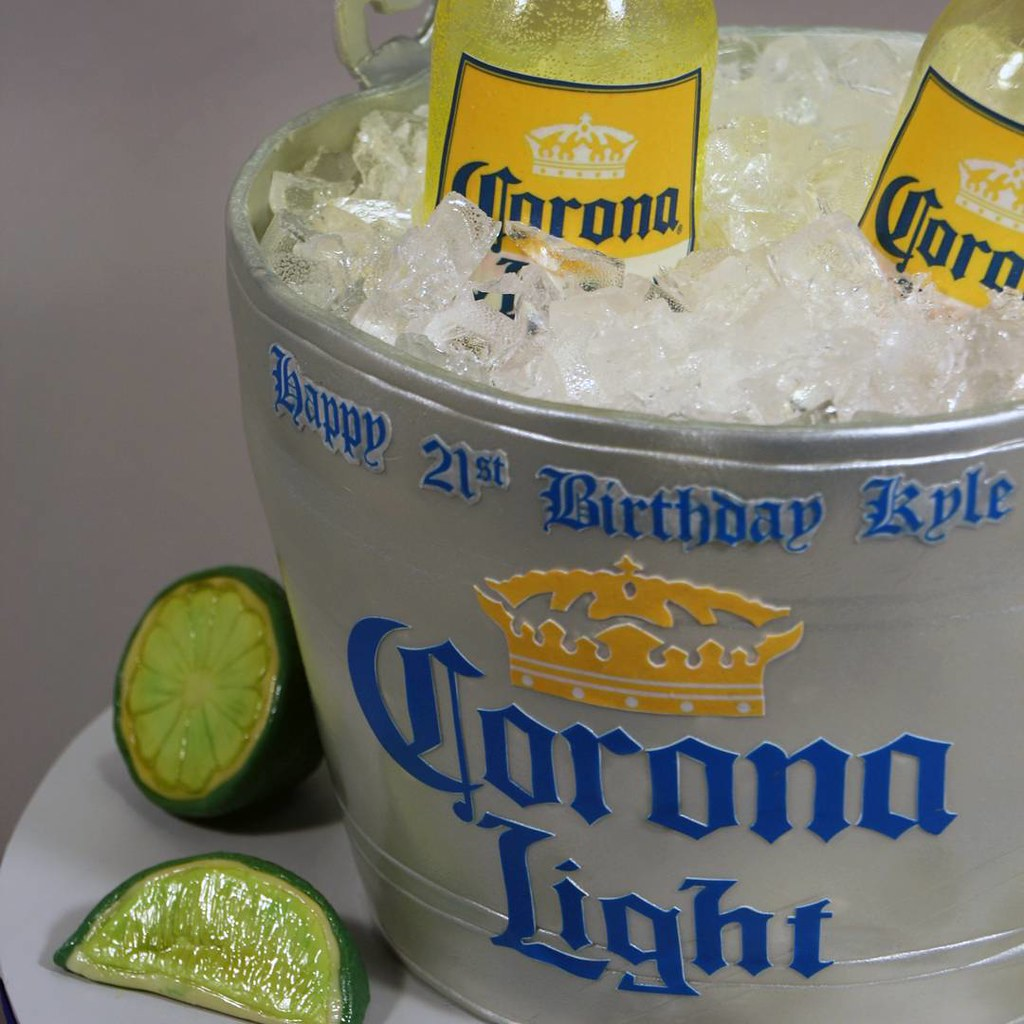 Corona Light Bucket Birthday Cake Decorated In Fondant G Flickr