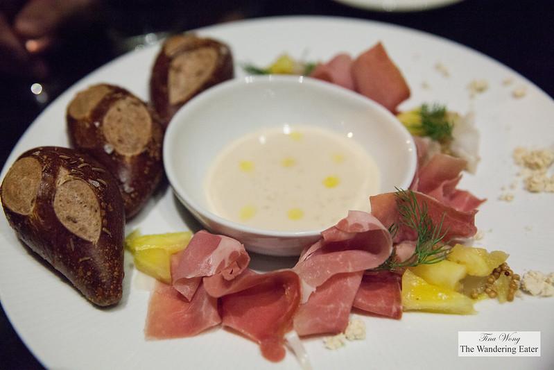 Pumpernickel pretzel rolls, Benton's ham, beer cheese fondue