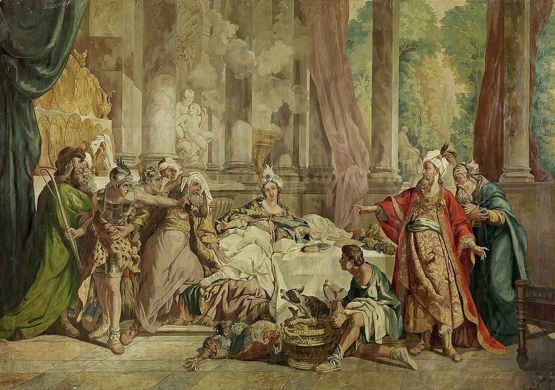 Jean-François de Troy - Verurteilung Hamans (aus dem Buch Ester). Mythologische Szene auf der Terrasse eines barocken Palastes