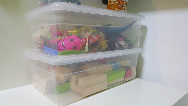 Daiso Shoe Storage Boxes in the playroom.