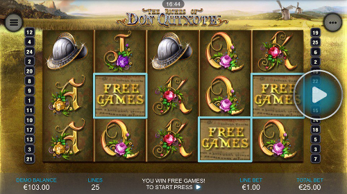 free The Riches of Don Quixote Mobile free spins feature