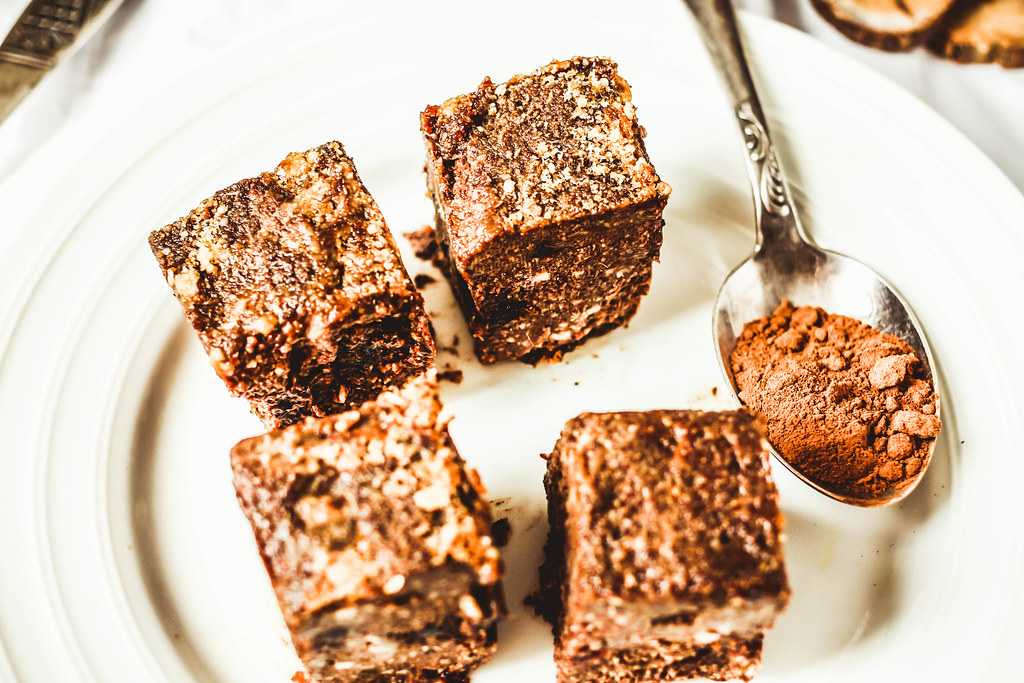 raw brownie with figs and green buckwheat, vegan diet,close-up