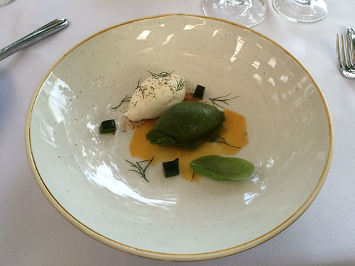 Madona goat cheese with basil sorbet leaves, mint jelly, nuts and salt ...
