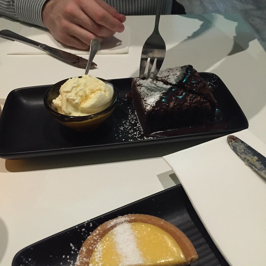 lemon tart and chocolate brownie, shared with a friend