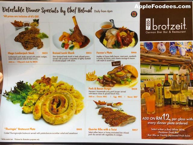 Brotzeit German Bier Bar & Restaurant - Special Dinner Menu