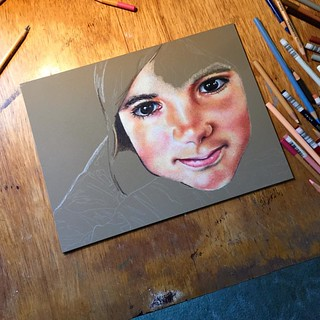 In progress colored pencil portrait entitled Clara, 9