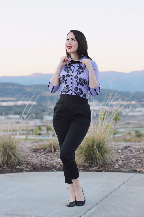 Wheels and Dollbaby Dita Cardigan in National Velvet Pinup Girl Clothing Laura Byrnes Cropped Trousers in Black Cotton Sateen