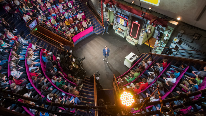 Saiful Islam at the centre of the live audience filming the Ri Christmas Lectures