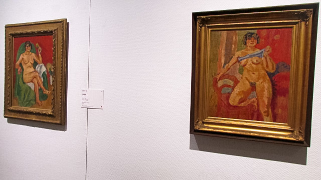梅原の描いた裸婦2点の展示