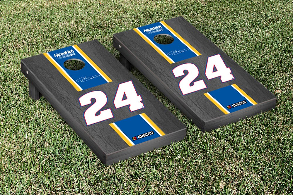 CHASE ELLIOT #24 CORNHOLE GAME SET ONYX STAINED STRIPE VERSION (1)