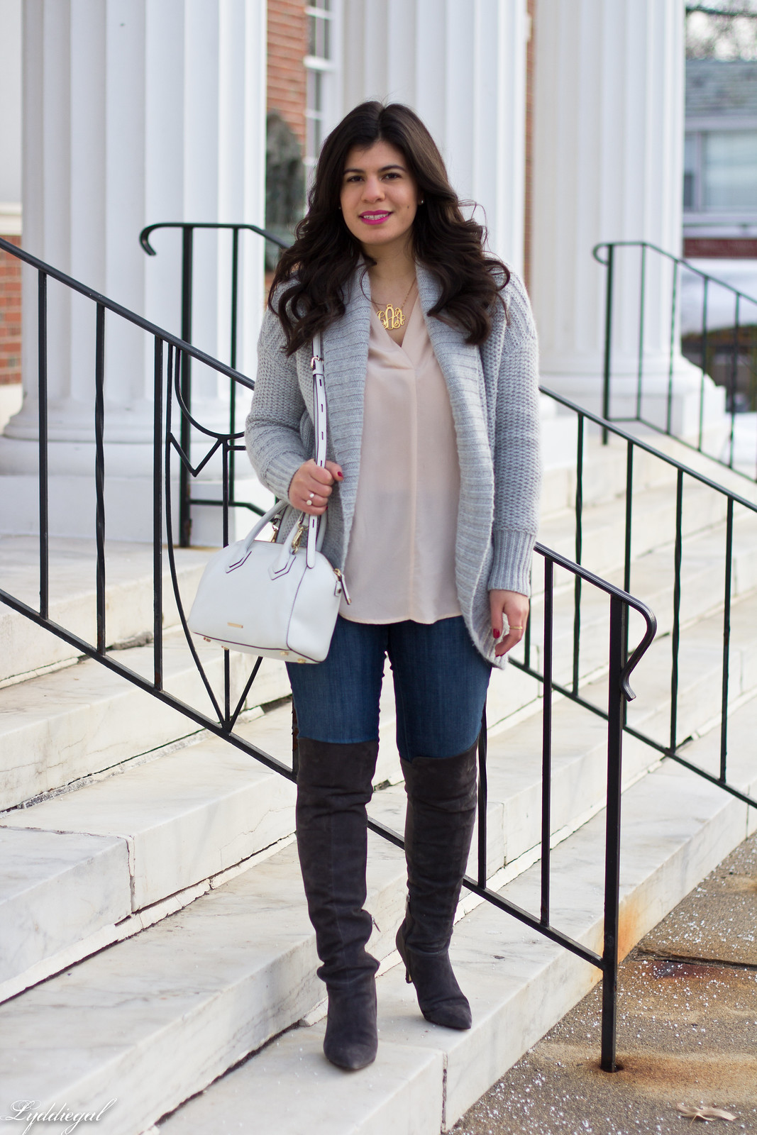 grey cardigan, over the knee boots, blush blouse-7.jpg