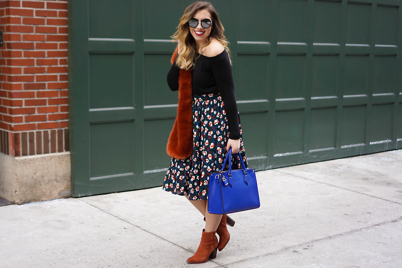 Faux Fur at NYFW | Off the Shoulder Sweater, Burnt Orange Scarf, eShakti Floral Midi Skirt, Sam Edelman Blake Booties