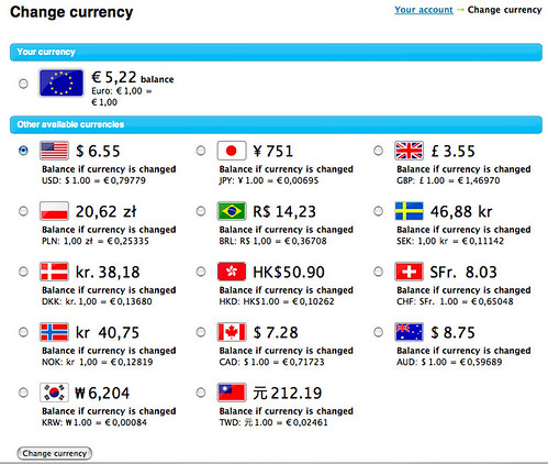 how to change skype currency