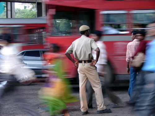Home Guard guiding traffic with the Mumbai Police | by calamur