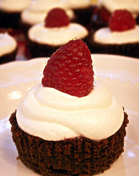 Mostly Flourless Chocolate Cupcakes with Marshmallow Fluff Frosting and Raspberries | by cupcakequeen