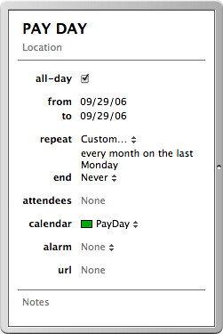 Pay Day Calendar | by postneo