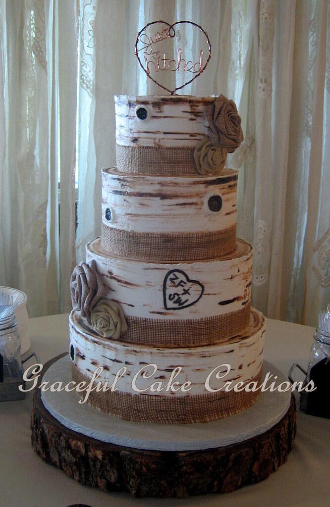 Rustic Birch Bark Wedding Cake With Burlap Ribbon And Burl