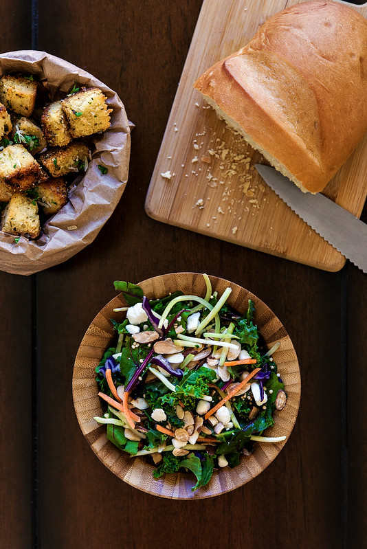 homemade herbed parmesan croutons with superfoods salad