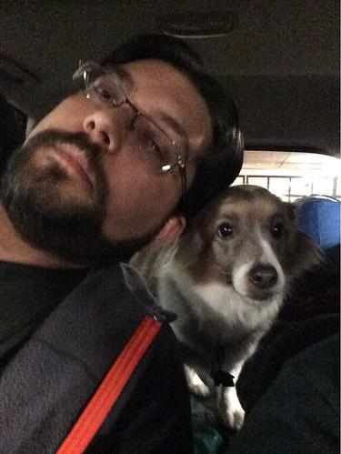 Bill and Kiki in the car.