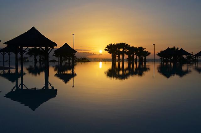 Infinity pool, sunset, Melia Gran Palacio de Isora, Alcala, Tenerife