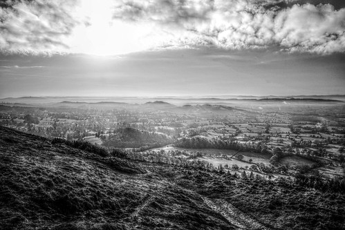 Malvern Hills - Looking west - black and white
