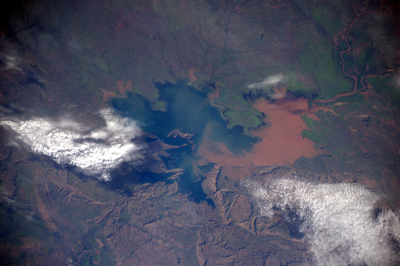 Lake Argyle from the International Space Station by European Space Agency Astronaut, Thomas Pesquet - Linked image goes to this photograph on Thomas' Flickr account, from where you can view a high resolution version. See the farms of Packsaddle just visible on full sized image - Original (4940 x 3292)