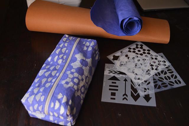 Kraft-tex Stenciled Boxy Pouch