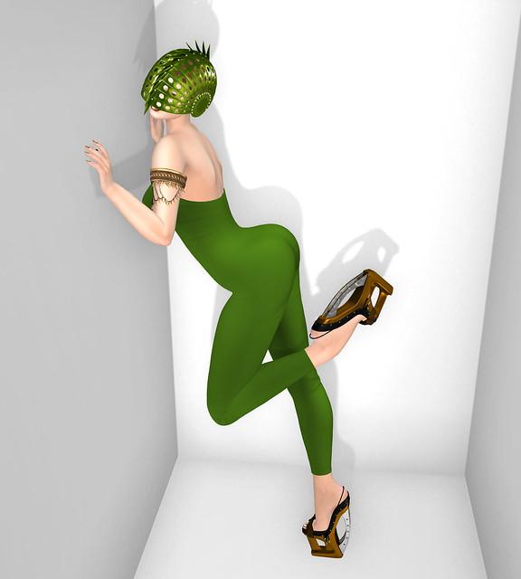 Rae bodysuit, Pish Posh, Shoes from Azoury, Escargot helmet from Sascha's Designs
