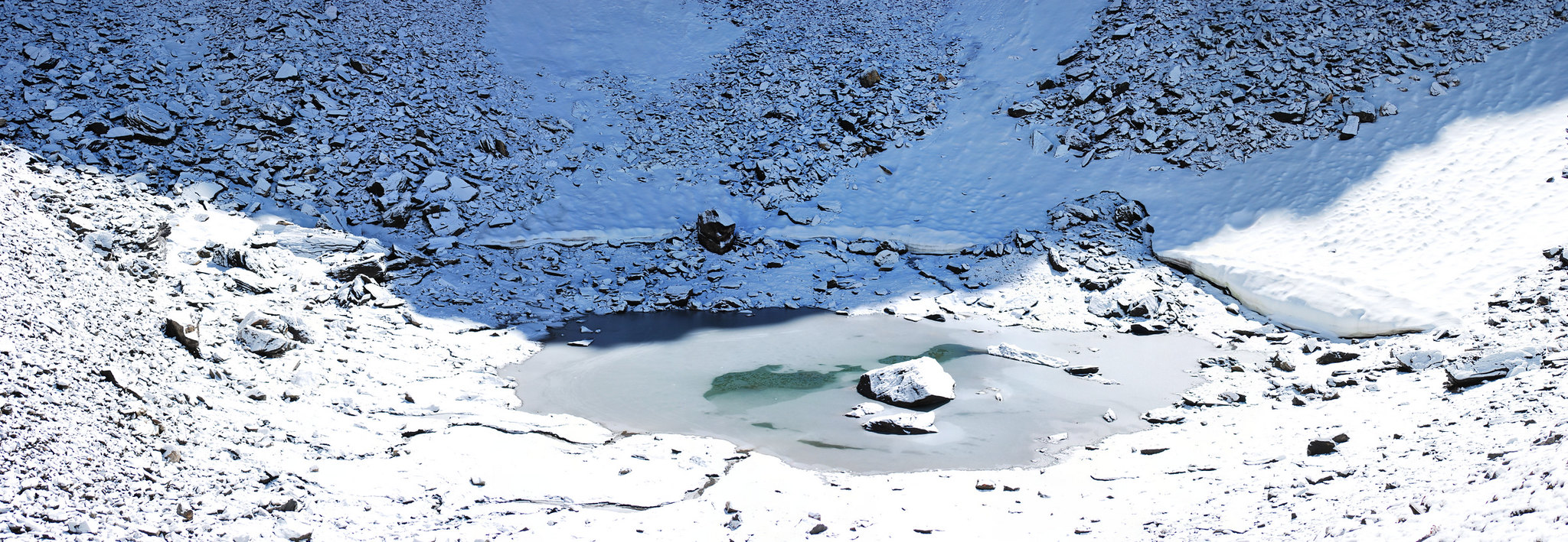 Roopkund Lake in the Himalayas.