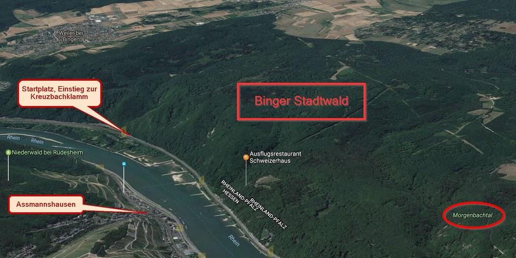 Binger Stadtwald (Google Maps mit Erläuterungen)