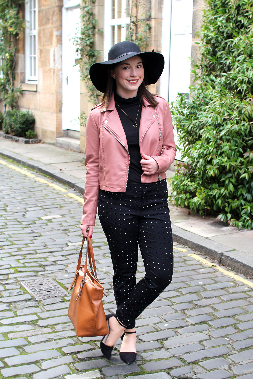 cigarette trousers trend pink leather jacket fashion blogger uk
