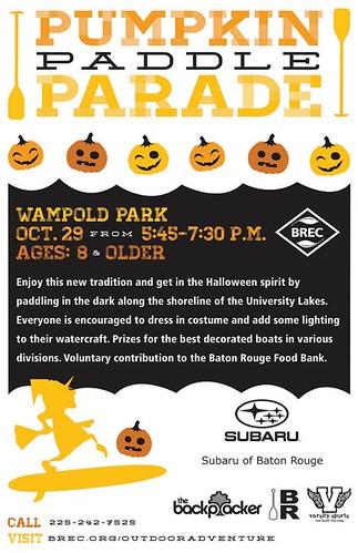 Pumpkin Paddle Parade flyer.