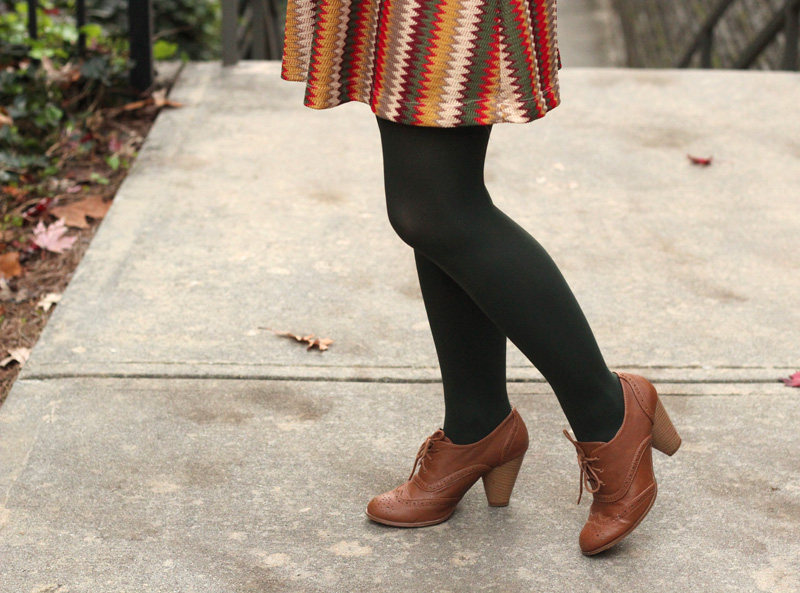 Dark Army Green Tights with a Chevron Dress and Light Brown Oxford Heels
