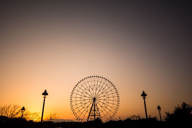 夕暮れの葛西臨海公園。観覧車越しに沈む夕陽