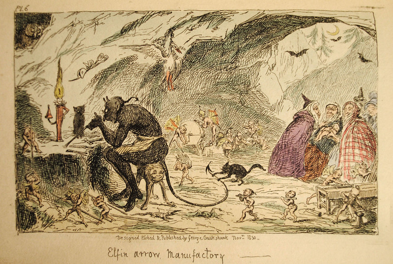 "George Cruikshank - ""Elfin arrow Manufactory"" colored Illustration from ""Letters On Demonology And Witchcraft"" by Walter Scott, 1830"