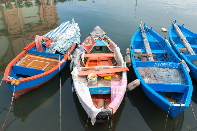 Colorful fishing boats, Bari, Italy