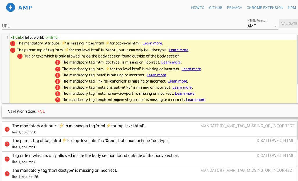 AMP Validator サイトの結果