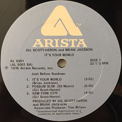 GIL SCOTT-HERON AND BRIAN JACKSON:IT'S YOUR WORLD(LABEL SIDE-A)
