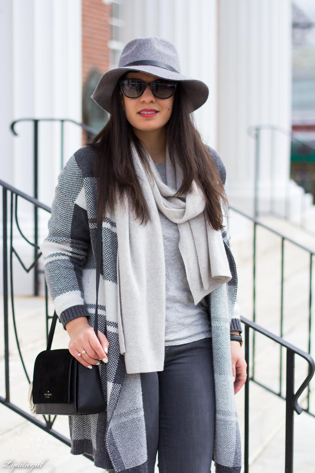 grey plaid cardigan, cashmere scarf, wool hat, grey jeans-5.jpg