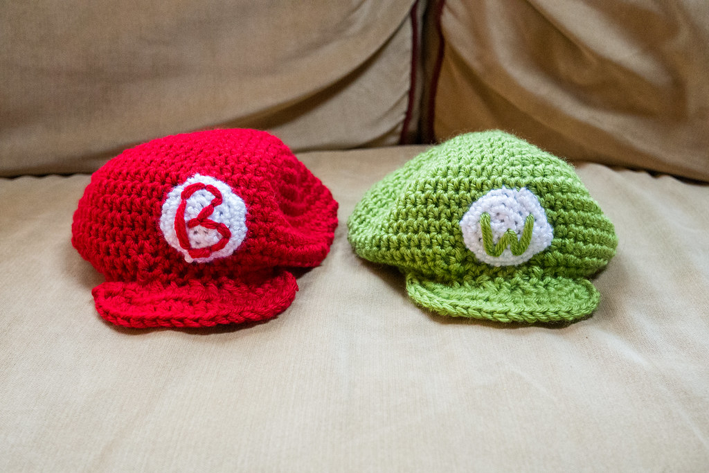 Baby Mario And Luigi Hats For Bryce And Wesley Val Daquila Flickr