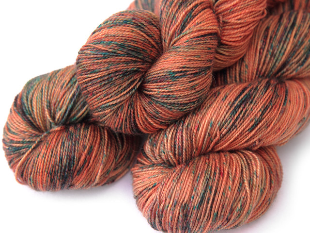 Favourite Sock – hand-dyed superwash merino 4 ply yarn 'Tarnished Copper'