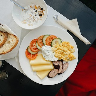 Another Polish breakfast, this time served outdoors under a heat lamp, with a blanket for your lap. #breakfast #foodporn #krakow #poland | by Reed0