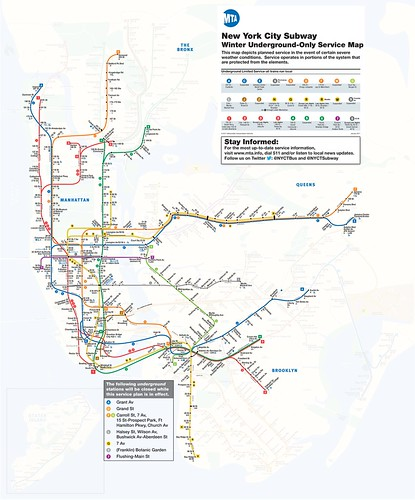 NYC Subway 2017 Winter Underground Subway Service Map