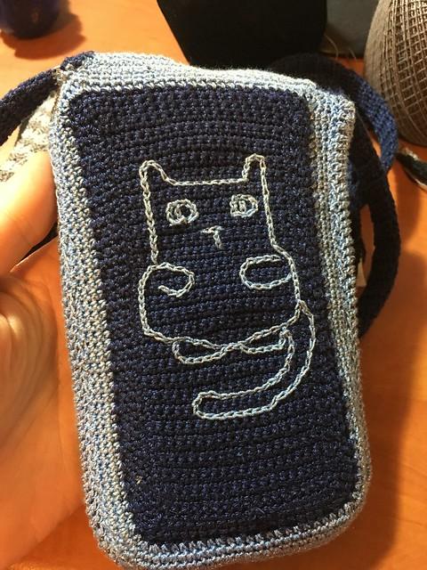 Blue Cat Pocket Bag