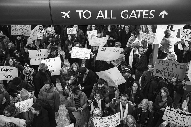 No Ban Protest at Syracuse Hancock International Airport