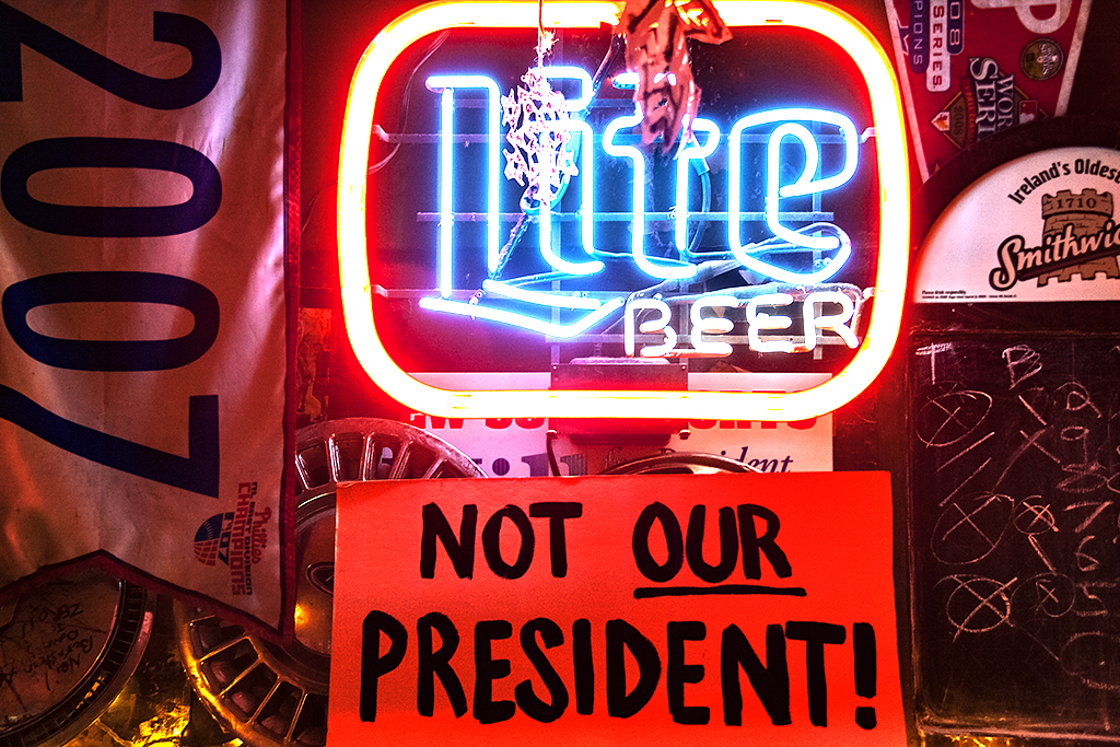 NOT OUR PRESIDENT sign in Dirty Frank's--Center City