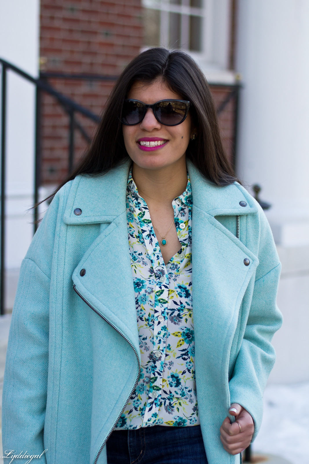 mint green cocoon coat, floral blouse, lace up flats, spring outfit-8.jpg