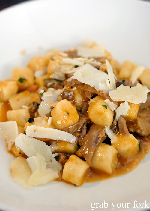 Potato gnocchi with braised duck, porcini mushroom and pecorino pepato at Tipo 00 pasta bar in Melbourne