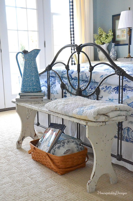 Guest Room-Vintage Bench-Housepitality Designs